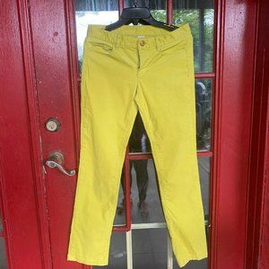J Crew Women Size 27 S City Fit Neon Yellow Cordur